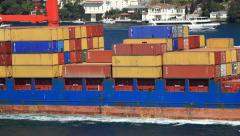 Deck of containers and international cargo ship in the sea Stock Footage