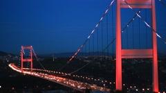 Second Bridge of Bosphorus at night Stock Footage