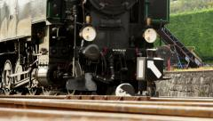 retro steam engine locomotive. nostalgic public transportion background - stock footage