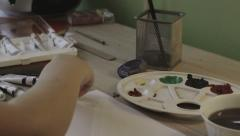 Child Painting In His Room Stock Footage