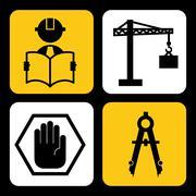 under construction design over black background vector illustration - stock illustration