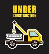 under construction design over balck background vector illustration - stock illustration