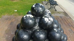 Old Cannon Balls Stock Footage