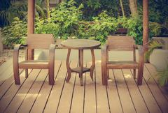 Wooden chairs Stock Photos