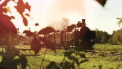Nostalgic steam engine train locomotive. retro vintage background Stock Footage