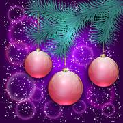 Vector christmas illustration with blue tree branch and balls on bokeh - stock illustration