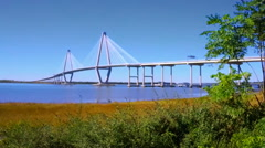 Ravenel Bridge in South Carolina on the Cooper river  - stock footage