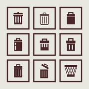trash icons - stock illustration