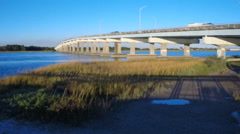 Ashley River/Highway 7 in South Carolina Stock Footage