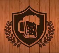 Beer design over wood background vector illustration Stock Illustration