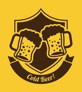 beer design over yellow  background vector illustration - stock illustration