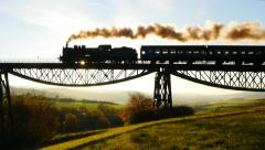 Nostalgic retro background of steam engine train locomotive Stock Footage