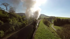 Aerial view of steam engine train locomotive. smoking smoke fog Stock Footage