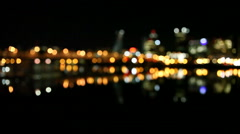 Out of Focus Bokeh of Portland OR Skyline and Hawthorne Bridge at Night 1080p Stock Footage