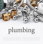 plumbing and tools on a light background - stock illustration