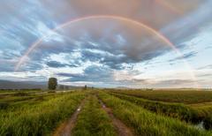 Dirt road under a beautiful rainbow Stock Photos