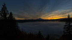 Time Lapse of Sunrise with Rolling Fog and Snow Covered Mt. Hood in Sandy Oregon Stock Footage