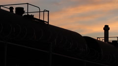 Industrial Train Depot / Factory Silhouette  Stock Footage