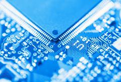 Integrated circuit close up Stock Photos