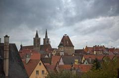 rothenburg on tauber roofs - stock photo
