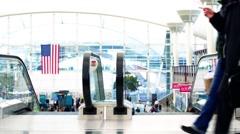The airport in Denver Colorado escalator moves Stock Footage