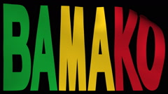 Bamako text with fluttering flag animation Stock Footage