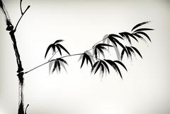 ink painted bamboo - stock illustration