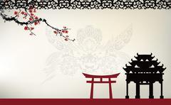 Asian theme - stock illustration