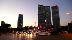 City traffic. Tel Aviv. Azriel. Israel. Stock Footage