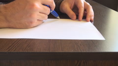 Nice blue pen office tool, closeup man hand with working papers, business notes Stock Footage