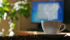 Cup of coffee. Sliding camera. 4K Stock Footage