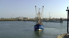 Fishing ships in the harbor of Lauwersoog Stock Footage