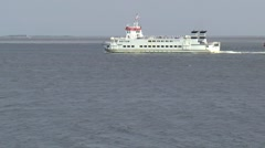 Ferrry leaving the harbor of Lauwersoog Stock Footage