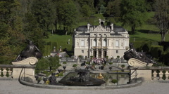 Linderhof Palace water fountain garden Bavaria Germany HD 023 Stock Footage