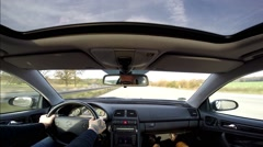 Timelapse Driving on german highway wide angle view from inside car - stock footage