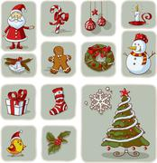 Vintage Christmas Graphic Elements Hand Drawn Vector - stock illustration