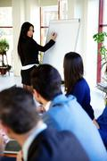 Businesswoman presenting something on flipchart Stock Photos