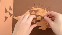 Glue bristle of paper hedgehog on Stock Footage