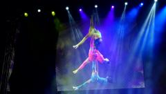 Circus Acrobat Hoops Stock Footage