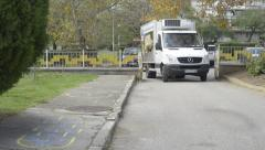 Truck parking in yard Stock Footage