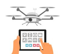 Remote air drone with camera Stock Illustration