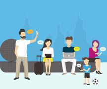 Group of people using electronics devices Stock Illustration
