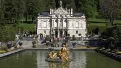 Linderhof Palace over fountain and garden Germany HD 018 Stock Footage