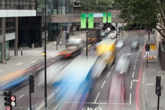 London Traffic from Bridge Autumn Day Stock Footage
