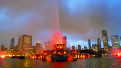 Chicago skyline and Buckingham Fountain Stock Footage
