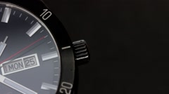 Close up shot of a black watch ticking - stock footage