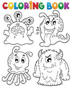 Coloring book monster theme - illustration. Stock Illustration