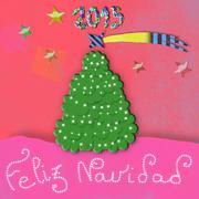 Feliz navidad, child christmas greeting card Stock Illustration