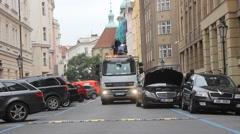Evacuation vehicle for traffic violations Stock Footage
