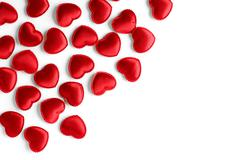 Felt red hearts isolated on a white background Stock Photos